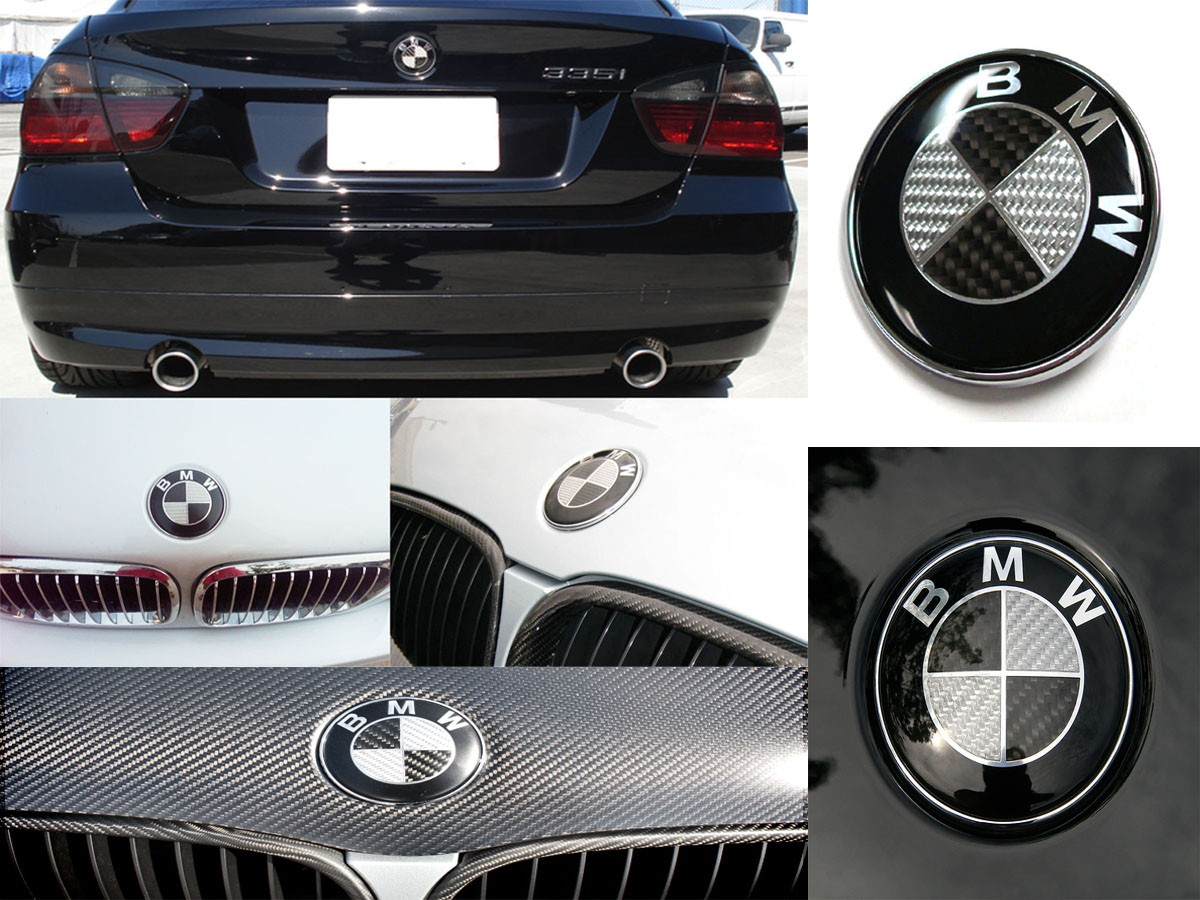 Black Carbon Fiber Hood Trunk Wheel Center Cap Steering Emblem 7 Pcs Set M002 Vehicle Parts Shop