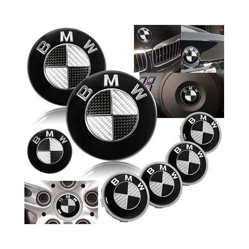 Black Carbon Fiber Hood Trunk Wheel Center Cap Steering Emblem 7 Pcs Set Vehicle Parts Shop